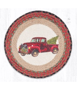PM-RP-530 Christmas Truck Printed Round Placemat 15 in.x15 in.x0.17 in.