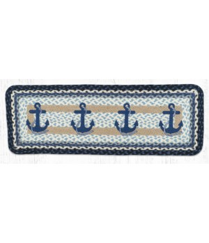 PP-443 Navy Anchor Oblong Printed Table Runner 13 in.x36 in.