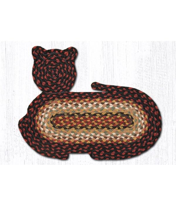 "CT-319 Burgundy/Mustard/Ivory Cat Shaped Rug 14.5""x19.5"""