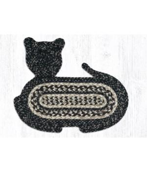 "CT-9-93 Black + Tan Cat Shaped Rug 14.5""x19.5"""