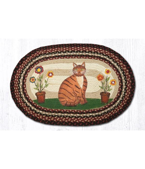 """OP-344 Folk Art Cat Oval Patch 20""""x30"""""""