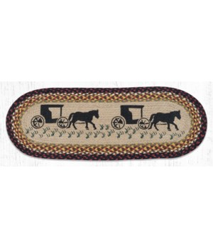 OP-319 Amish Buggy Oval Table Runner 13 in.x36 in.