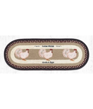 OP-344 Farmhouse Chicken Oval Table Runner 13 in.x36 in.