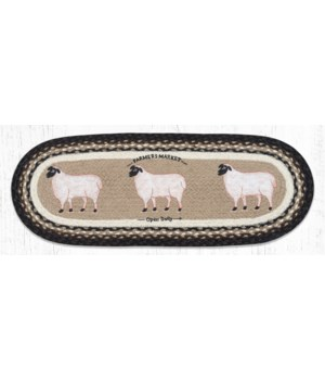 OP-344 Farmhouse Sheep Oval Table Runner 13 in.x36 in.