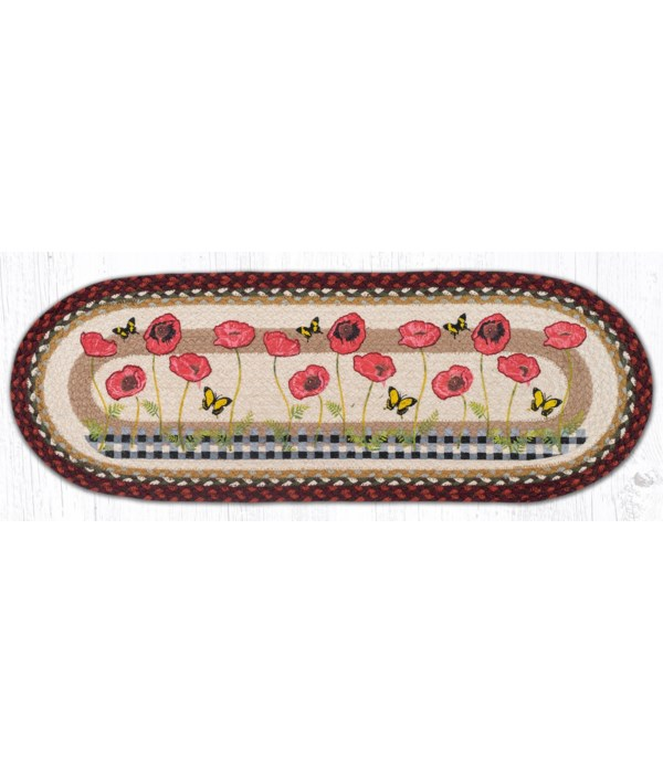 """OP-417 Poppies with Black Check Oval Table Runner 13""""x36"""""""