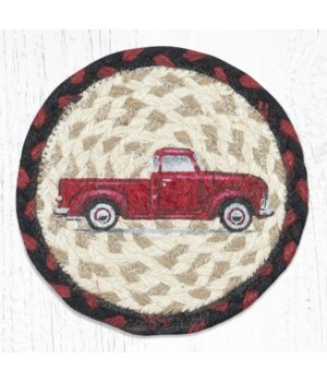 LC-19 Vintage Red Truck Round Large Coaster 7 in.x7 in.