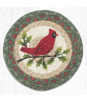 LC-25 Holly Cardinal Round Large Coaster 7 in.x7 in.