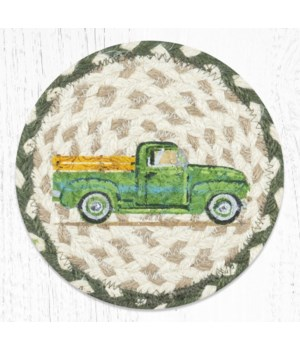 LC-338 Vintage Green Truck Round Large Coaster 7 in.x7 in.