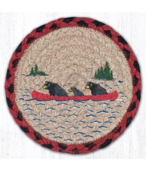 "LC-396 Bears in Canoe Round Large Coaster 7""x7"""