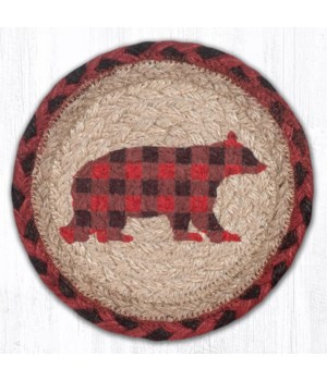 "LC-396 Flannel Bear Round Large Coaster 7""x7"""