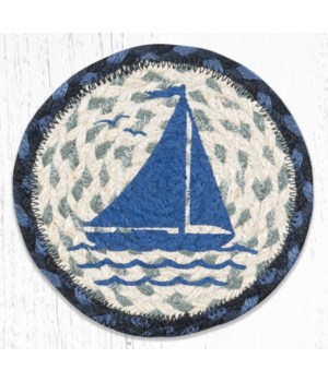 LC-443 Sailboat Round Large Coaster 7 in.x7 in.