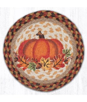 "MSPR-222 Pumpkin Leaf Printed Round Trivet 10""x10"""