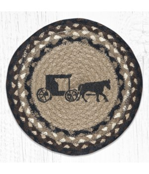 MSPR-313 Amish Buggy Printed Round Trivet 10 in.x10 in.