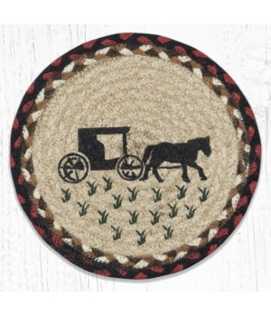 MSPR-319 Amish Buggy 2 Printed Round Trivet 10 in.x10 in.