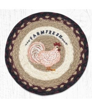 MSPR-344 Farmhouse Chicken Printed Round Trivet 10 in.x10 in.