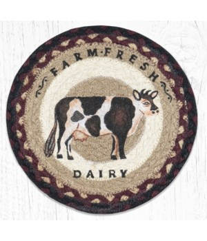 MSPR-344 Farmhouse Cow Printed Round Trivet 10 in.x10 in.