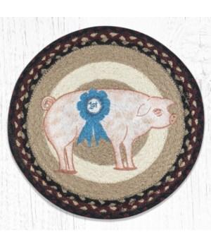 MSPR-344 Farmhouse Pig Printed Round Trivet 10 in.x10 in.