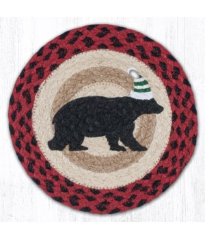 "MSPR-396 Bear Green Stripe Hat Printed Round Trivet 10""x10"""