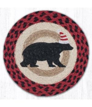 "MSPR-396 Bear Red Stripe Hat Printed Round Trivet 10""x10"""