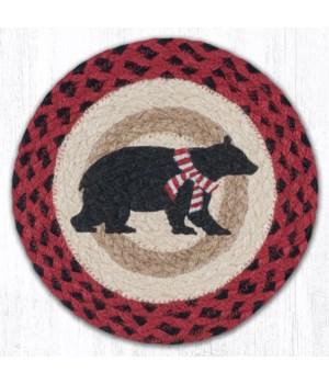 "MSPR-396 Bear Red Stripe Scarf Printed Round Trivet 10""x10"""