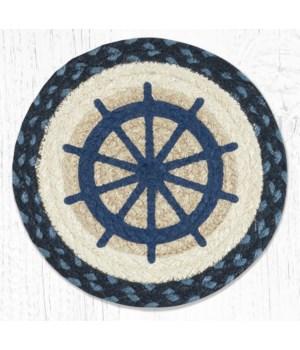 MSPR-443 Ship Wheel Printed Round Trivet 10 in.x10 in.
