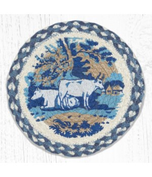 MSPR-608 Blue & White Cows Printed Round Trivet 10 in.x10 in.