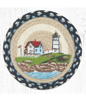 MSPR-619 Nubble Lighthouse Printed Round Trivet 10 in.x10 in.