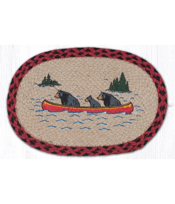 "MSP-396 Bears in Canoe Printed Oval Swatch 10""x15"""