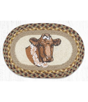 MSP-413 Cow Flower Printed Oval Swatch 10 x 15 in.