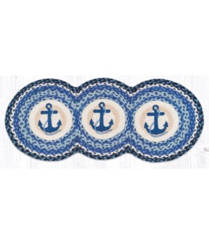 TCP-443 Navy Anchor Printed Tri Circle Runner 15 in.x36 in.x0.17 in.