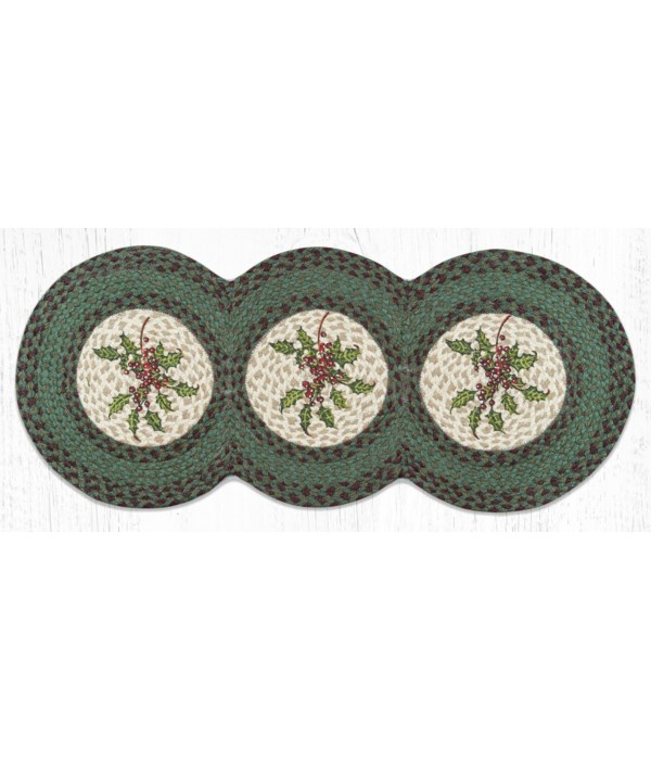 TCP-508 Holly Printed Tri Circle Runner 15 in.x36 in.