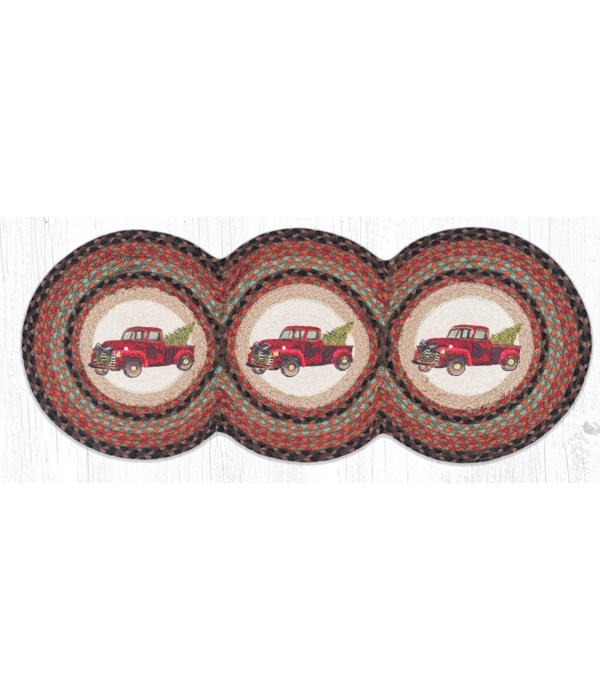 TCP-530 Christmas Truck Printed Tri Circle Runner 15 in.x36 in.x0.17 in.