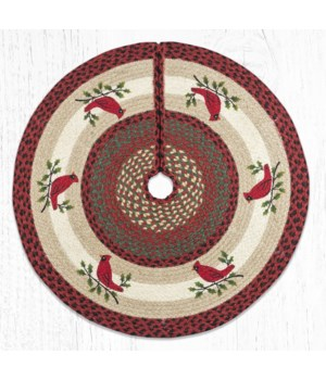 TSP-25 Holly Cardinal Printed Tree Skirt Round 30 in.x30 in.