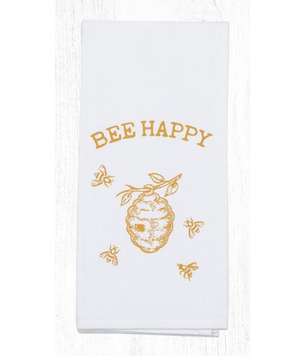 T-300 Bee Happy Cotton Tea Towels 20 in.x28 in.