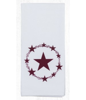 T-357 Burgundy Star Cotton Tea Towels 20 in.x28 in.