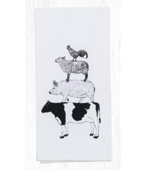 T-459 Farm Animals Cotton Tea Towels 20 in.x28 in.