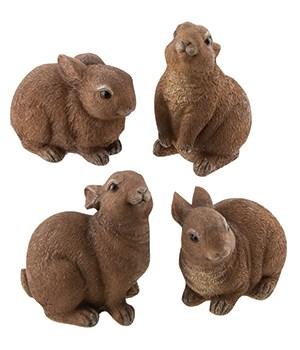 Resin Bunny, 4 Asstd. 4 x 2.5  in.