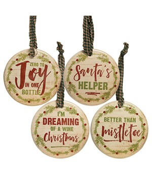 Christmas Wine Bottle Ornament, 4 asst. .. 3 in.