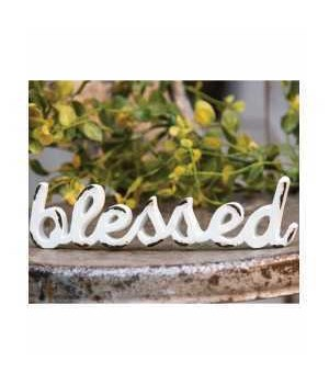 Blessed' Distressed White Resin Figurine 2 x 7 x .025 in.