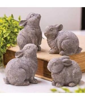 Gray Resin Bunny, 4 asstd. 4 x 2.5 in.