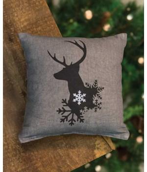 Winter Reindeer Pillow - 10  10 x 10 in.