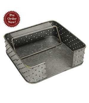 Galvanized Punched Napkin Holder .. 6.75  x 6.75  x 2  in.