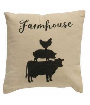 Stacked Farmhouse Animals Pillow, 10x10 10 x 10 in.
