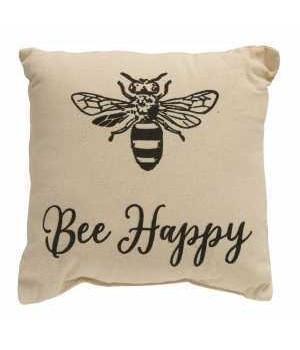 Bee Happy Pillow, 10 x 10 in.