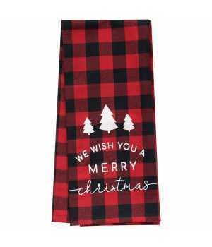 Red Buffalo Check Merry Christmas Towel 28 x 18 in.