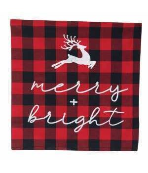 Merry and Bright Buffalo Check Pillow 10 x 10 in.