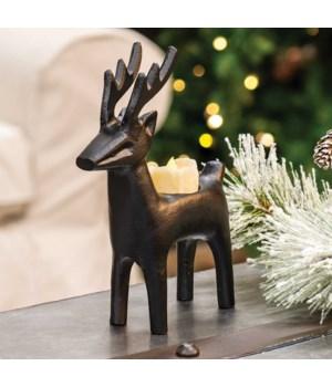 Cast Iron Reindeer Tealight Holder 6 l x 2  w x 8.5 h in.