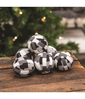 6/Set White and Black Buffalo Check Balls
