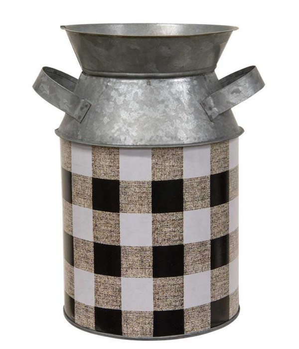 Black & White Buffalo Check Milk Can, Large 6  dia x 9.25 h in.