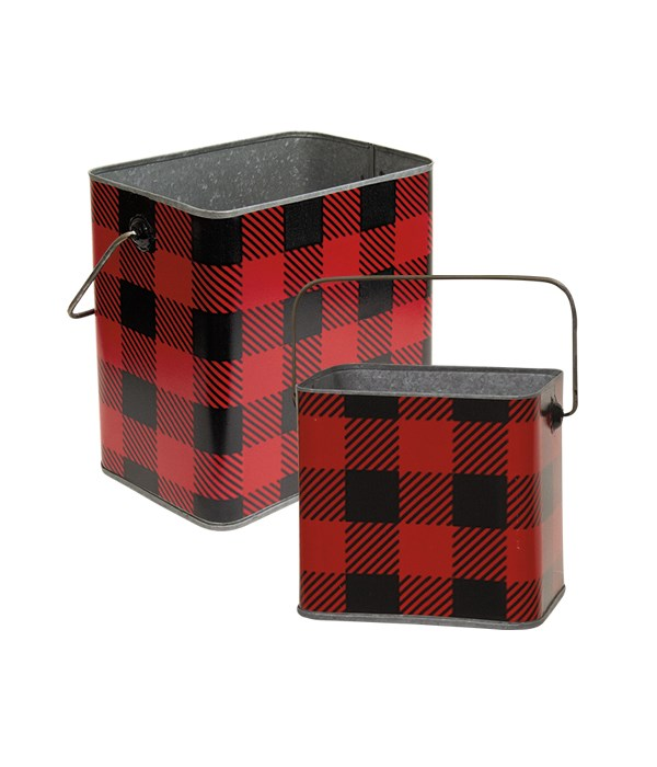 S/2 Red & BlK Buffalo Check Canist w/Hand lg 7lx4.25dpx6.5h, Sm 4.75wx3.75dx4.25  in.